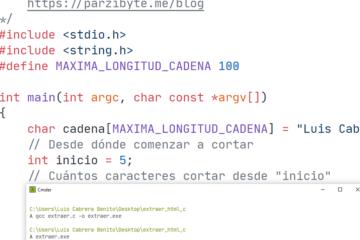 Cortar cadena en ANSI C - Extraer subcadena