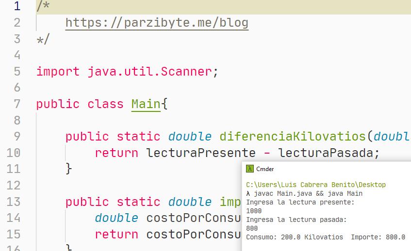 Ejercicio de programación en Java - Recibo de luz