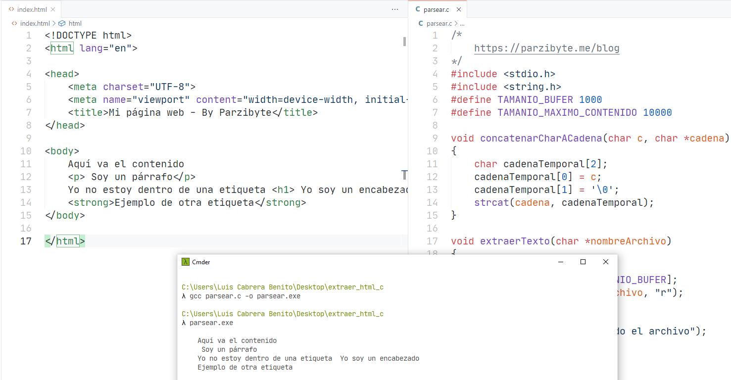 Extraer cuerpo de archivo HTML usando ANSI C - Trabajo con cadenas