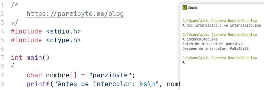 Intercalar mayúscula y minúscula en C - Programación