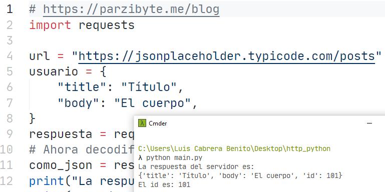 Petición HTTP POST con JSON usando Python y requests