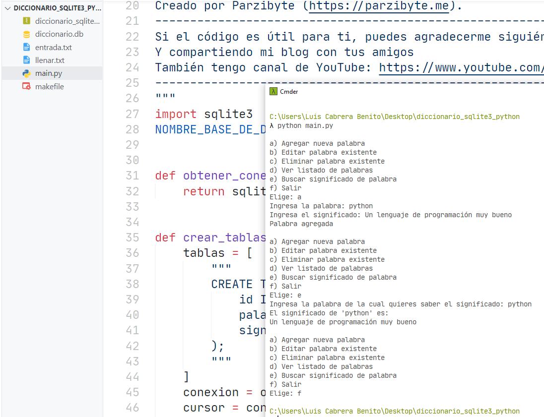 Python y SQLite3 - Ejercicio de diccionario con palabras y su significado