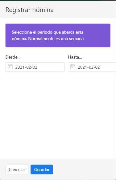 Registrar nueva nómina