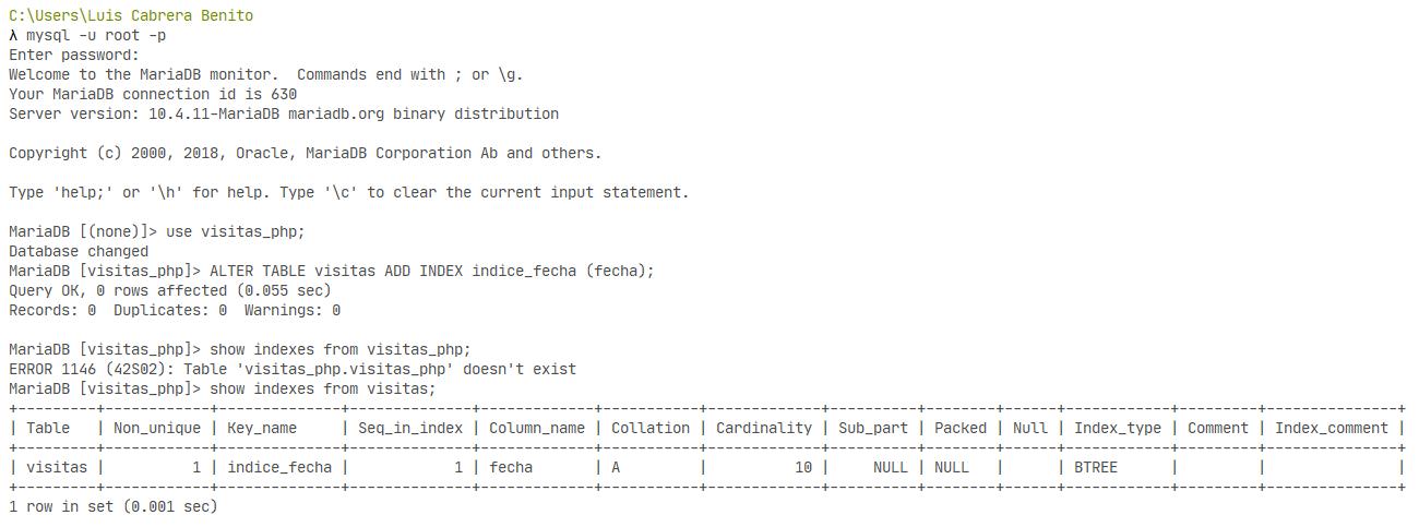 Agregar índice en tabla de MySQL o MariaDB