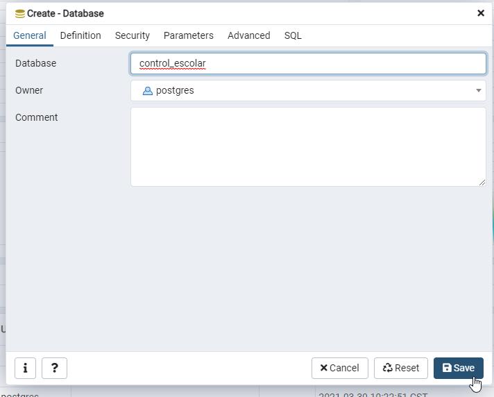 Creando base de datos para control escolar con PostgreSQL desde pgAdmin
