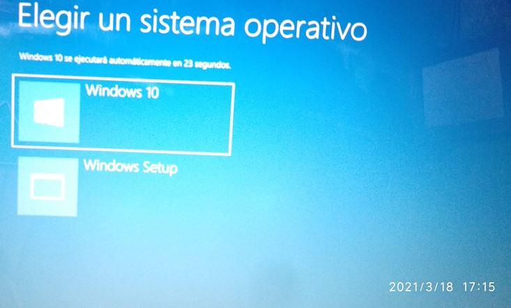 Iniciar desde Windows 10 cuando pregunte Elegir un sistema operativo