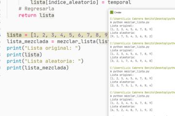 Mezclar arreglo en Python - Elementos en posición aleatoria