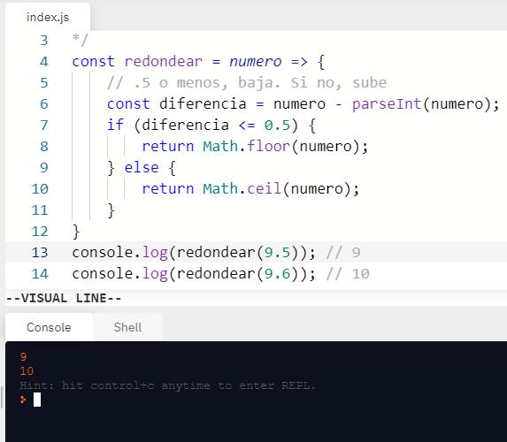 Redondear si parte decimal termina en 0.5 - Ejemplo de código