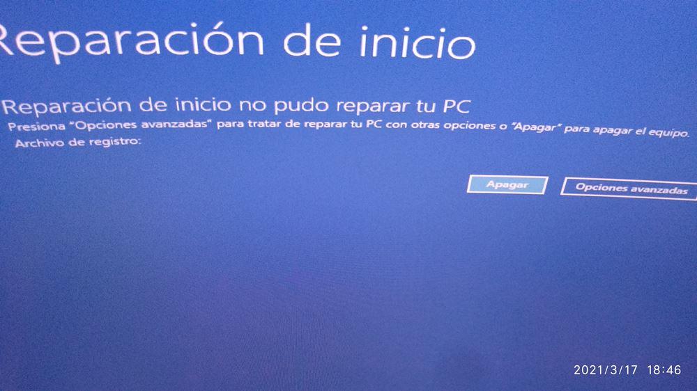 Reparación de inicio de Windows