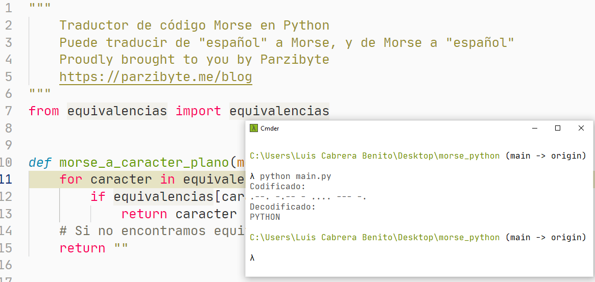 Traductor código Morse a texto en Python