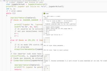 Tres en línea (tic tac toe) programado en C - Desarrollo del juego