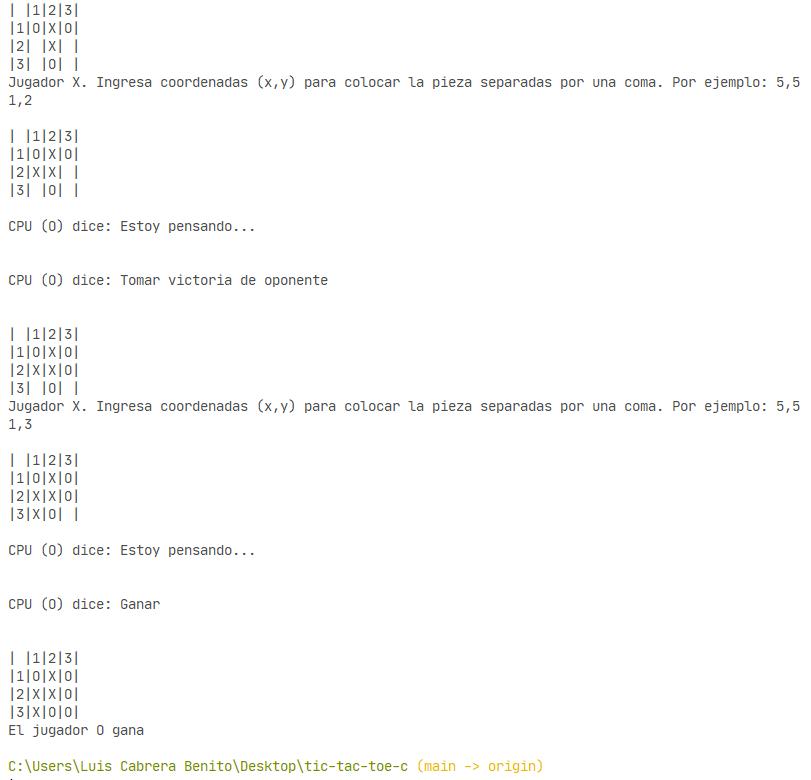 Victoria del CPU en Tic tac toe programado en C