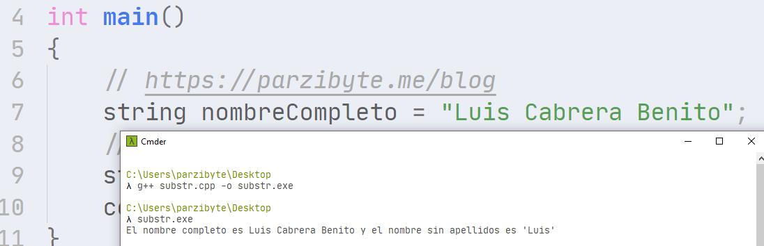 Cortar cadena en C++ usando substr