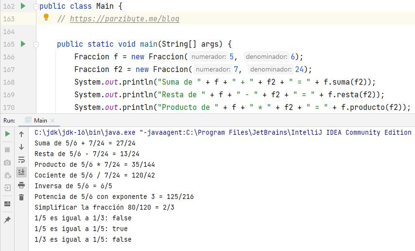 Fracciones en Java - Implementar clase y operaciones de quebrados