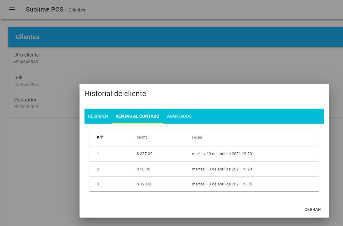 Historial de clientes y manejo de clientes en PDV web gratuito