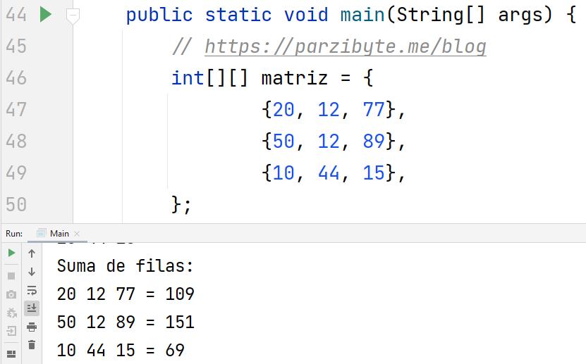 Java - Sumar filas de matriz
