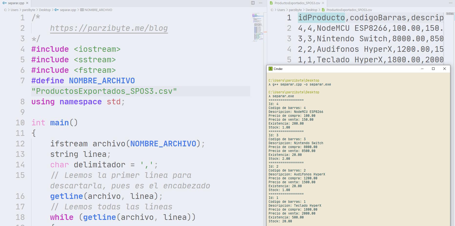 Leer y extraer valores de CSV con C++