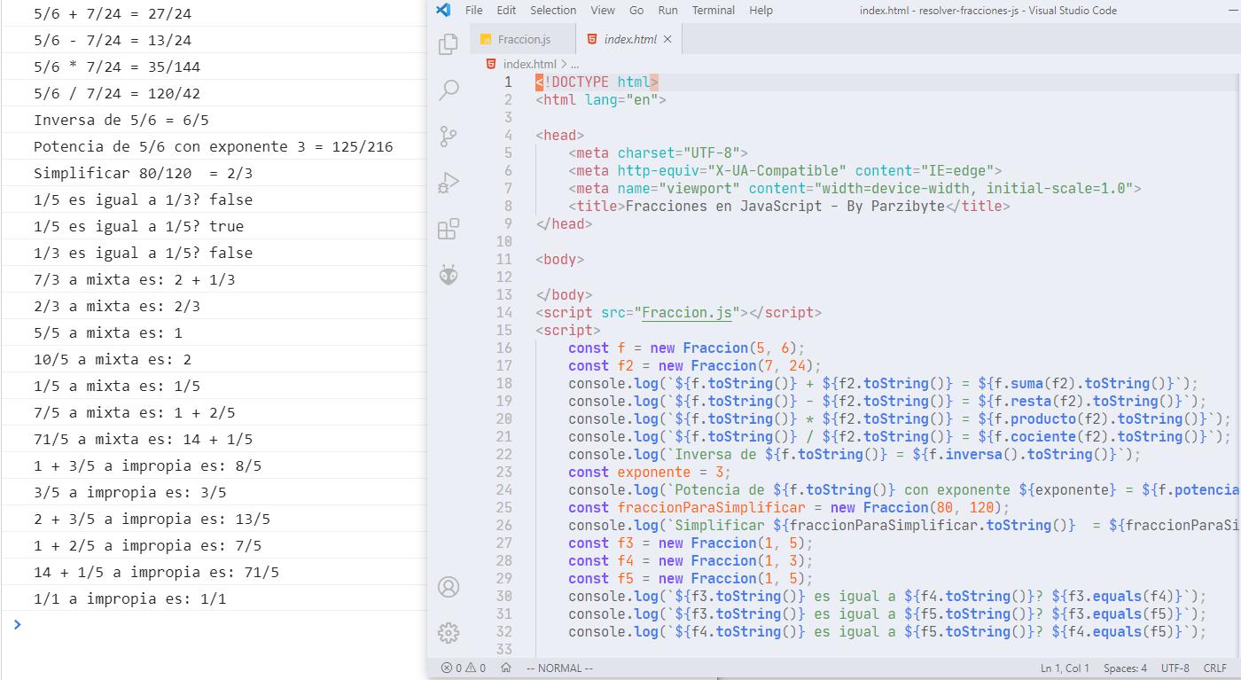 Manejo de fracciones con JavaScript - Resolver operaciones
