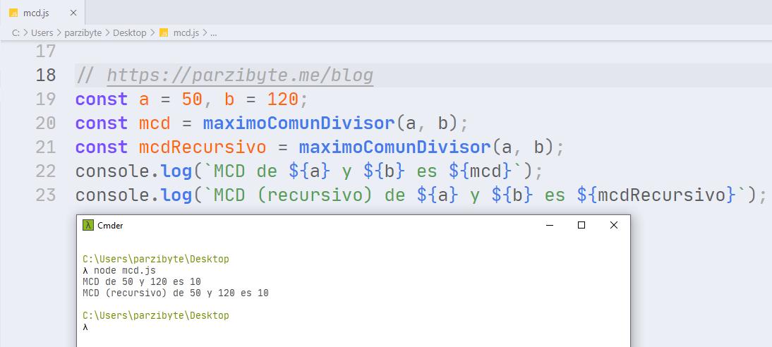 Máximo común divisor usando JavaScript JS