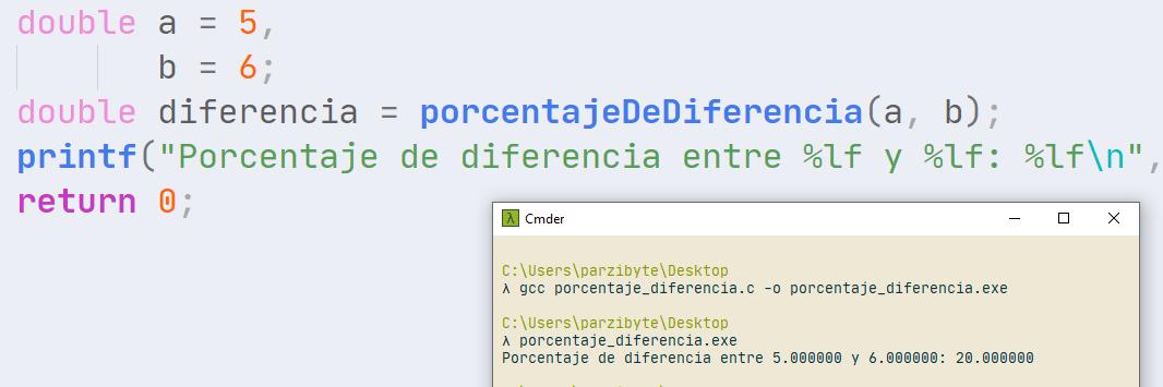 Porcentaje de diferencia con C - Programación