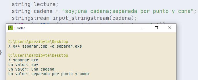 Separar cadena por delimitador en C++ usando getline