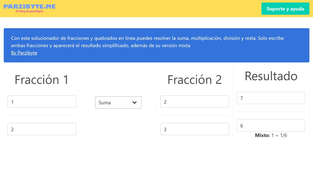 Solucionar fracciones en línea - Suma, resta, producto y cociente
