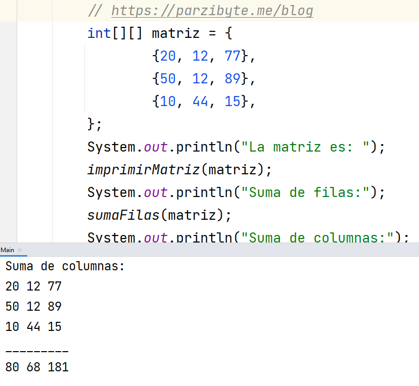 Suma de columnas de matriz en Java