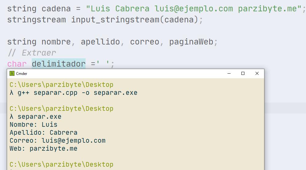 Usar espacio como delimitador para separar cadena por tokens en C++