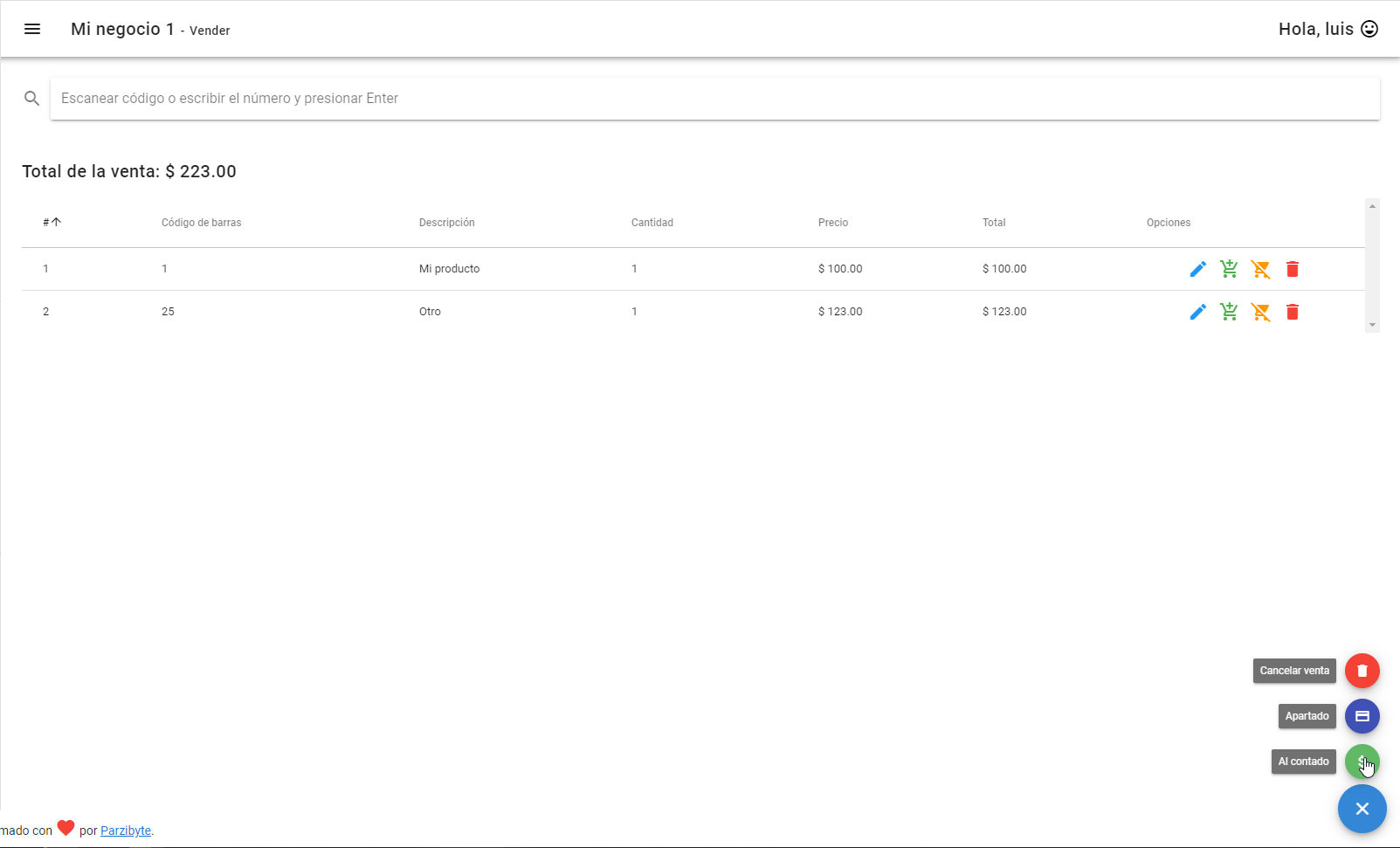 Vender al contado o hacer apartado registrando al cliente - Sistema de ventas fácil de usar