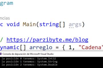 Arreglo con distintos tipos de datos en C sharp (C#)