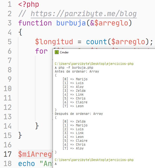 Arreglo de cadena ordenado con PHP y método de burbuja