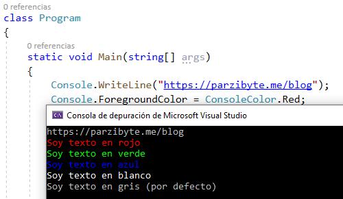 Cambiar color de texto en consola con C#