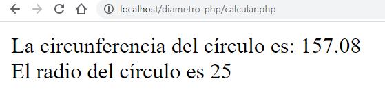 Circunferencia y radio de círculo con PHP