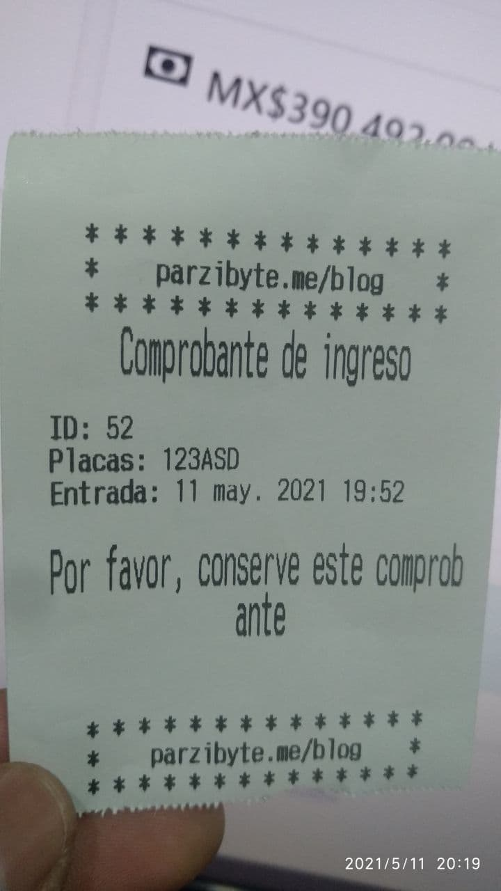 Comprobante de ingreso a estacionamiento - Impreso en impresora térmica