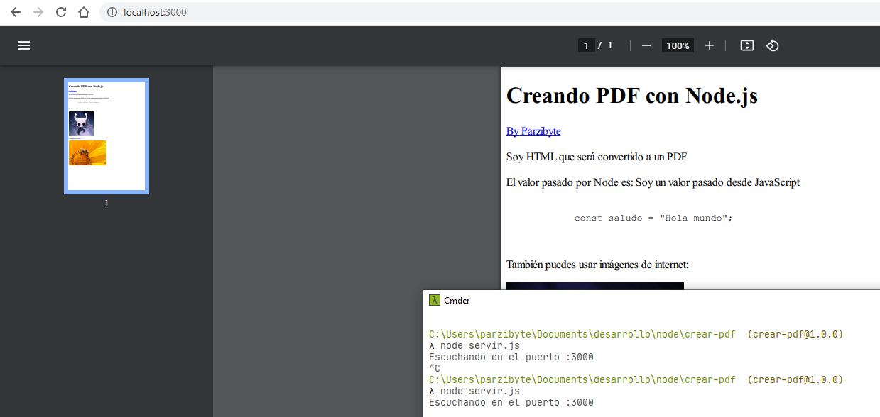 Crear PDF con Node.js y mostrarlo en navegador con Express