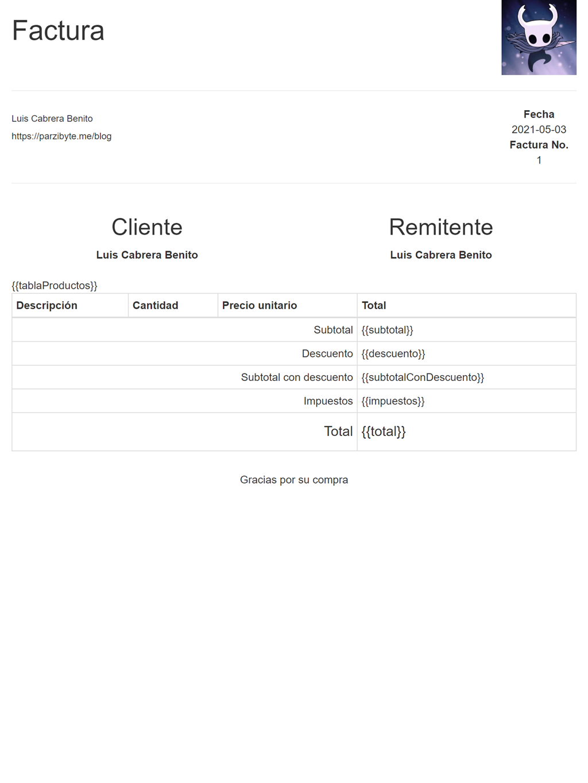 Diseño de plantilla de factura HTML para convertir a PDF con Node