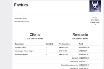 Factura PDF creada con Node.js, JavaScript y html-pdf