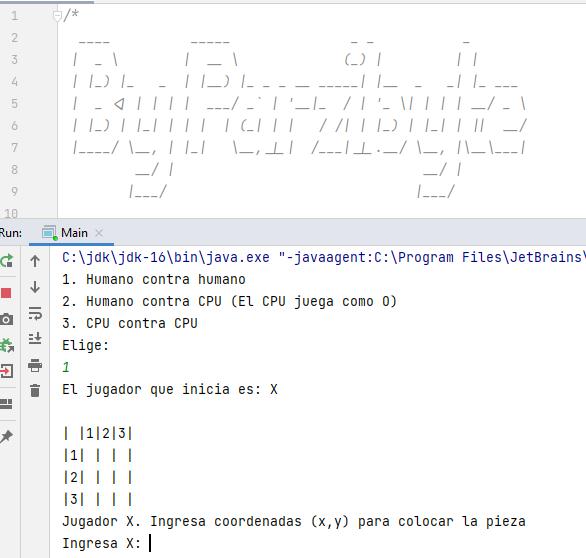 Inicio del juego 3 en raya - Programación Java