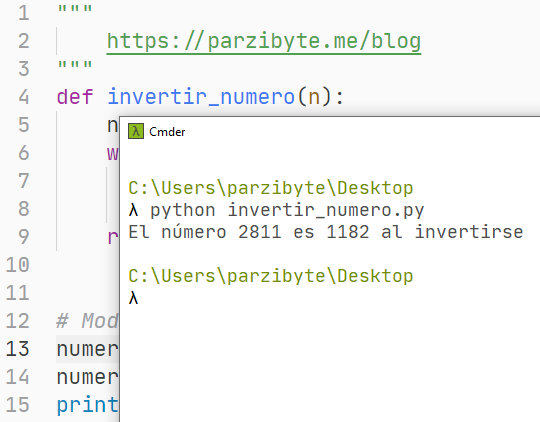 Invertir número entero (sin cadena) usando Python