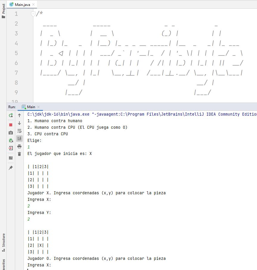 Jugando Gato (tres en línea) programado con Java