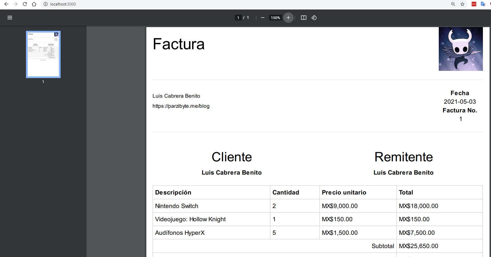 Mostrar factura PDF en navegador usando Node.js y Express