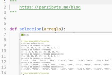 Ordenar arreglo usando método de selección en Python
