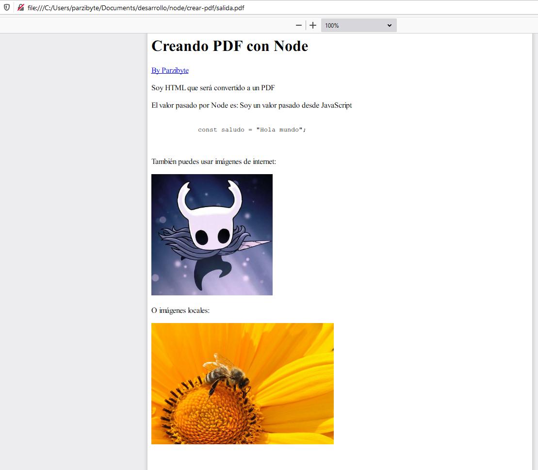 PDF creado con JavaScript, Node.js y html-pdf