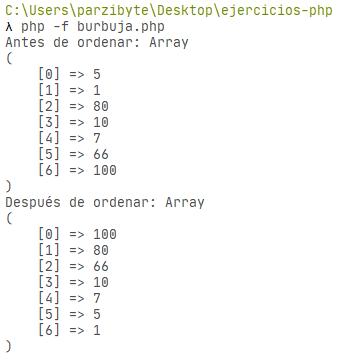 PHP - Arreglo ordenado de manera descendente con método burbuja