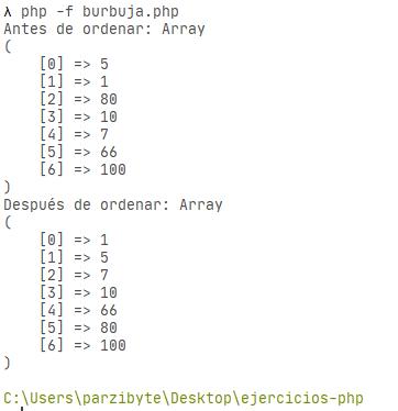 PHP - Ordenar arreglo numérico de manera ascendente con el método de la burbuja