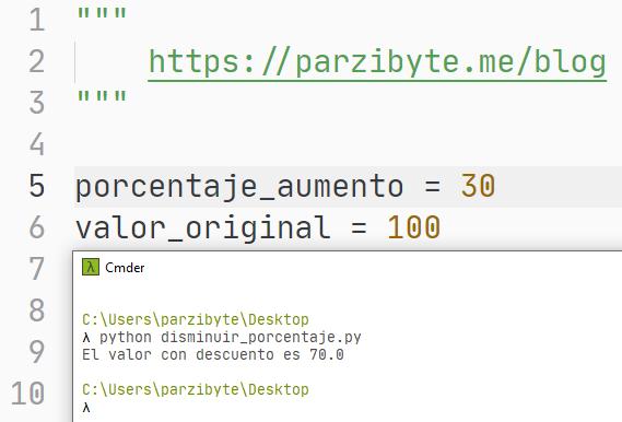 Python - Aplicar descuento con porcentaje