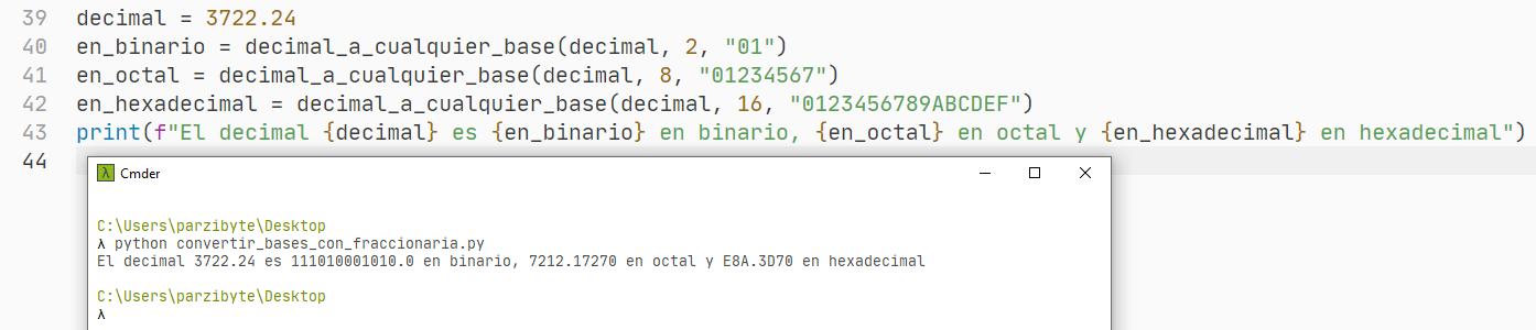Python - Convertir número con punto decimal a binario, octal, hexadecimal y cualquier base