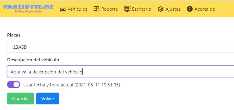Registrar nuevo vehículo en el parqueadero - Software para estacionamiento