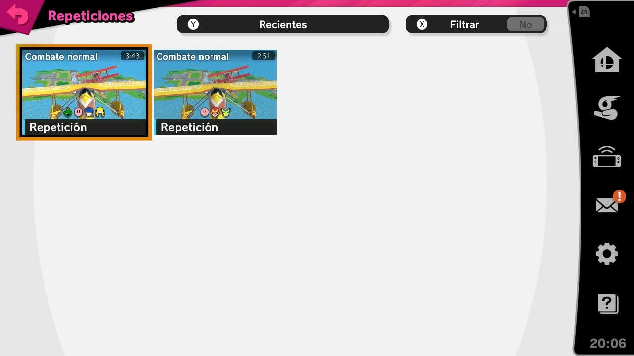 Repeticiones guardadas en Super Smash Bros Ultimate