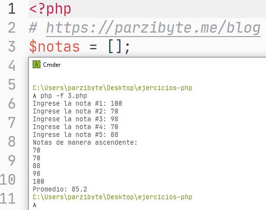 Solicitar notas de estudiante, ordenar y calcular promedio con PHP